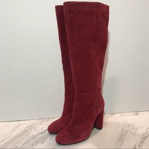 Red suede knee high boot